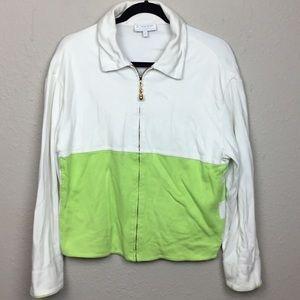 St. John Sport Full Zip Jacket Medium White Green